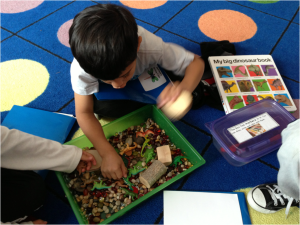 Playing with the dinosaur sensory box while making a book about dinosaurs