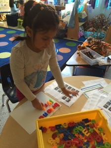 Making friend's names with magnetic letters